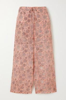 Hannah Artwear - Floral-print Silk Crepe De Chine Pants - Peach