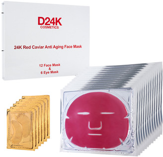 D24K by D'OR D'or 24K 2.12Oz (X18) 18-In-1 Red Caviar Anti-Aging Face & Eye Mask Set (1 Yr)