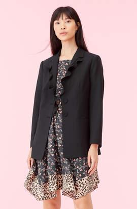 Rebecca Taylor Gabardine Suiting Ruffle Jacket