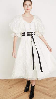 Aje Eucalypt Burnout Midi Dress