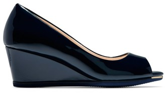 Cole Haan Grand Ambition Peep-Toe Patent Leather Wedge Pumps