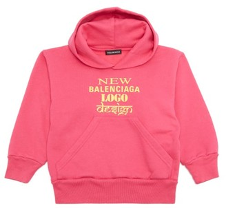 Balenciaga Kids Unisex New Logo Cotton-blend Hooded Sweatshirt - Pink