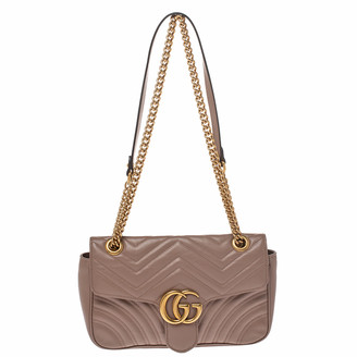 Gucci Nude Beige Matelasse Leather Small GG Marmont Shoulder Bag