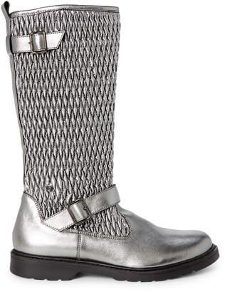 Naturino Toddler/Kids Girls) Gunmetal Quilted Metallic Knee-High Boots