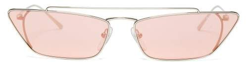 Prada Ultravox Rectangular Frame Metal Sunglasses - Womens - Light Pink