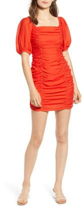 Moon River Puff Sleeve Ruched Mini Dress