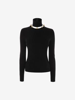 Alexander McQueen Metallic Sphere High-Neck Sweater