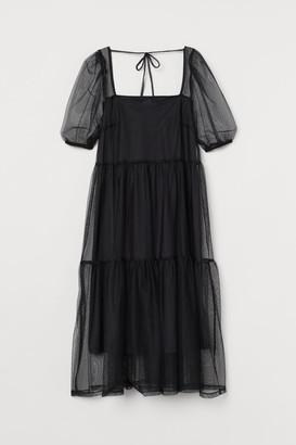 H&M Puff-sleeved Mesh Dress - Black