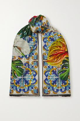 Dolce & Gabbana Frayed Floral-print Modal And Cashmere-blend Scarf - Blue