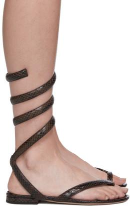 Bottega Veneta Brown Python Spiral Sandals