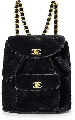 Chanel Black Velvet Classic Backpack