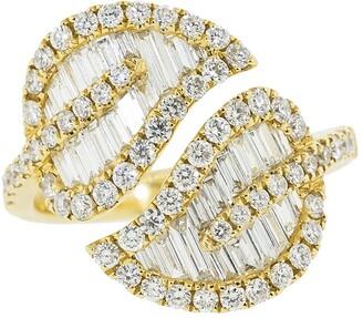 Anita Ko 18kt yellow gold diamond leaf ring