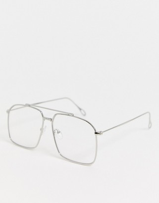 clear ASOS DESIGN navigator fashion glasses in silver metal with lenses