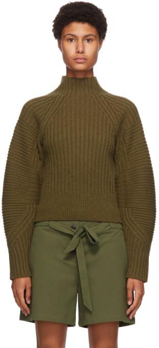 Rag & Bone Khaki Wool Oakes Raglan Turtleneck