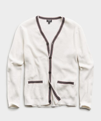 Todd Snyder Cotton Cashmere Waffle Stitch Tipped Cardigan in White