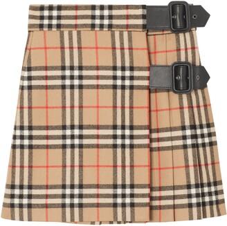 Burberry Luiza Check Wool Skirt