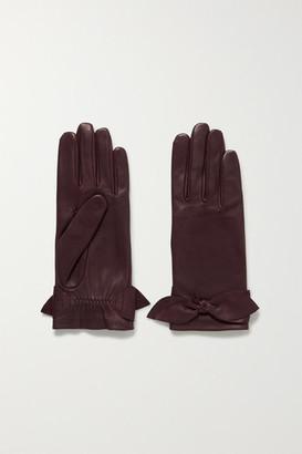 Agnelle Bow-embellished Leather Gloves - Burgundy