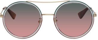 Gucci Gold Round Gradient Sunglasses