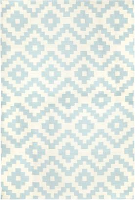 Jonathan Adler Light Blue Pierre Reversible Peruvian Flat Weave Rug