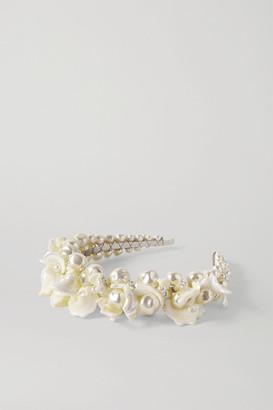 Simone Rocha Daisy Silver-tone, Mother-of-pearl And Faux Pearl Headband - White