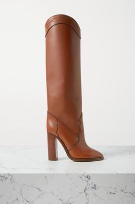 Saint Laurent Kate Leather Knee Boots - Tan