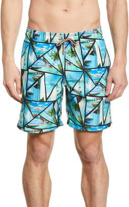 Bugatchi Tropical Print Swim Trunks