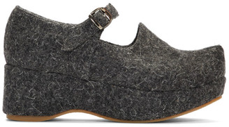 Flat Apartment Grey Wool Mary Jane Platform Ballerina Flats