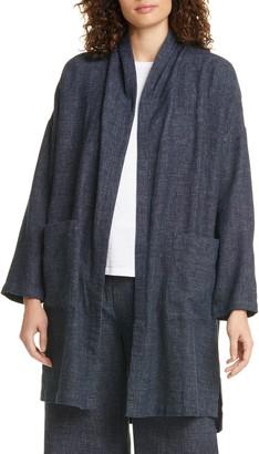 Eileen Fisher Organic Cotton & Hemp Tweed Long Coat