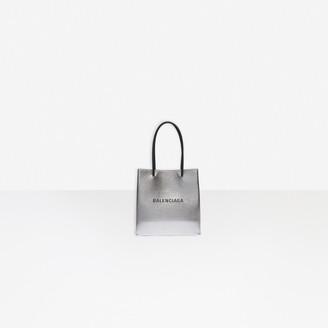 Balenciaga Shopping XXS North South Tote Bag in silver pink squared calfskin