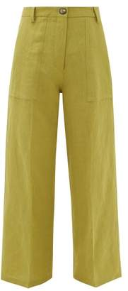 Etro Agave High-rise Linen-blend Trousers - Womens - Light Green
