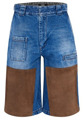Fendi Denim and suede shorts