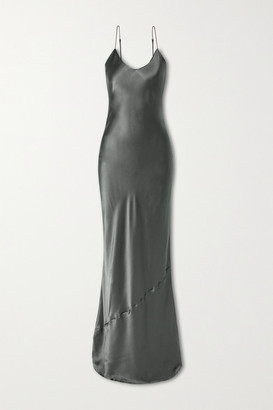 Nili Lotan Silk-satin Gown - Dark gray