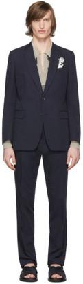 Dries Van Noten Navy Cotton Suit