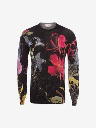 Alexander McQueen Deconstructed Floral Crew Neck Sweater