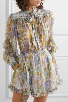 Zimmermann Super Eight Smocked Ruffled Floral-print Silk-chiffon Playsuit - Blue
