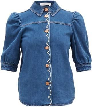 See by Chloe Scalloped Denim Shirt - Womens - Denim