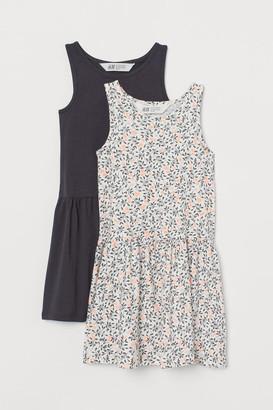 H&M 2-pack Jersey Dresses - Gray