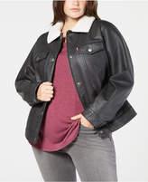 levis-plus-size-faux-leather-fleece-trimmed-trucker-jacket