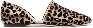 Jimmy Choo Globe Flocked Leopard-print Satin Flats