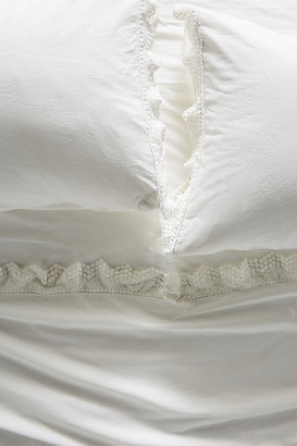 Anthropologie Embellished Chevron Percale Sheet Set By in White Size CA KNG SHT