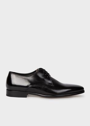 Paul Smith Men's Black Leather 'Coyle' Derby Shoes With 'Signature Stripe' Details