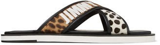 Jimmy Choo PALMO Sugar Mix Leopard Print Pony Sandals with Logo Embroidery