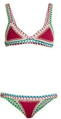 Kiini Coco Crochet-trimmed Triangle Bikini - Womens - Pink Multi