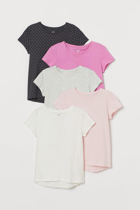 H&M 5-pack Jersey Tops - Pink