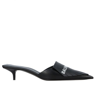 Balenciaga Mule Fringes Knife In Leather With Fringes And Logo