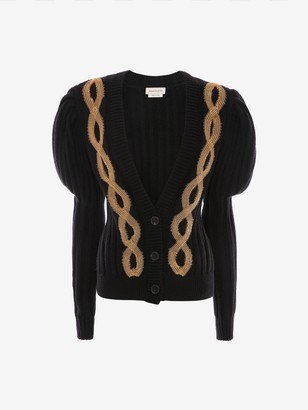 Alexander McQueen Metal Cable Embroidered Knit Cardigan