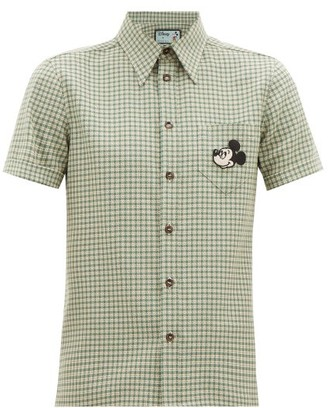 Gucci Mickey Mouse-applique Checked-wool Shirt - Mens - Green