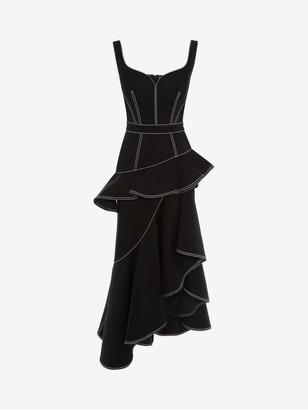 Alexander McQueen Peplum Denim Midi Dress