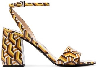Prada multicoloured 85 Twist print patent leather sandals