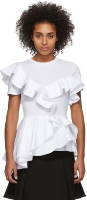 Alexander McQueen White Ruffle T-Shirt